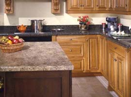 "Amber Yellow Granite Countertop with 1/4"" Bevel Edge Profile"