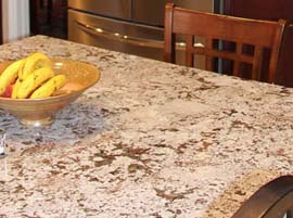 Bianco Antico granite countertop with 1/4 Bevel Edge Profile