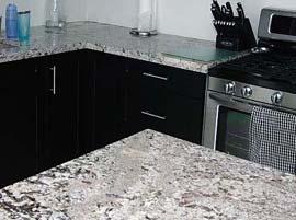 Bianco Antico Granite Countertop with Double Ogee Edge Profile