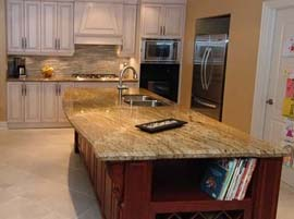 "Golden Bordeaux Granite Countertop with 1/4"" Bevel Edge Profile"
