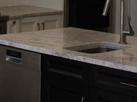 Ivory granite countertop with straight edge profile