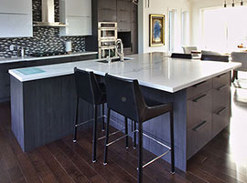 Quartz Lucent Calacutta countertop on kitchen island