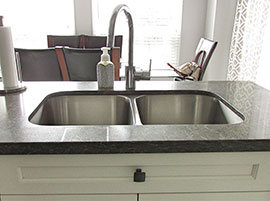 Caesarstone quartz countertop and double sink