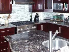 "English Brown Granite Countertop with 1/4"" Bevel Edge Profile"