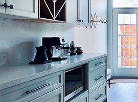 Quartz Calcutta on Kitchen Coffee Bar